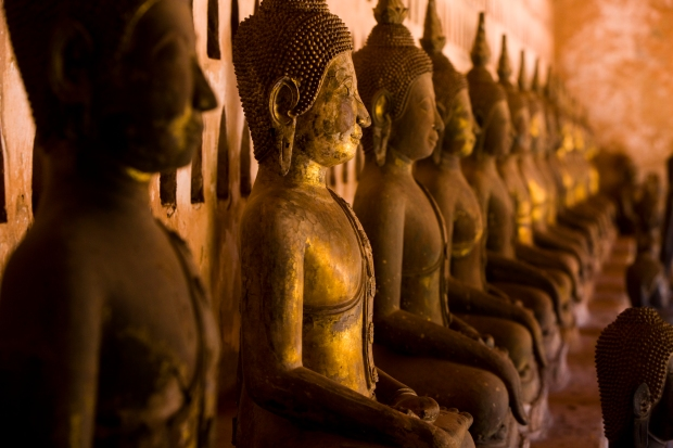 Ancient Buddha statues at Wat Sisaket, Vientiane